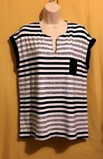 Rachel Cole women's black white striped sheer back stretch tunic top L $90