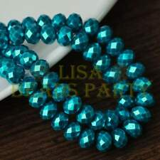 30pcs 8x6mm Rondelle Pearl Like Faceted Loose Spacer Glass Beads Deep Lake Blue