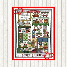 MERRY CHRISTMAS COUNTED CROSS STITCH KIT 14 COUNT AIDA FINISHED SIZE 33x42CM