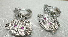Hello Kitty Silver Tone Pink & Clear CZ Bow Hoop Earrings