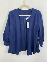 NEW Kim Rogers Blue Open Front Top Size Large Ruched 3/4 Sleeves Rayon Blend