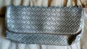 New Silver Weave Evening Cosmetic Clutch Bag Estee Lauder Make Up Case More E-5