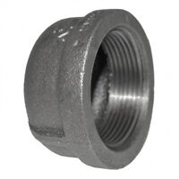 "Round Cap Black Malleable Iron Pipe Fitting BSP 1/2"" & 3/4"""