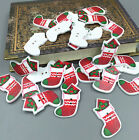 Merry Christmas socks Wooden Buttons 2 Hole Sewing Scrapbooking Craft 38mm