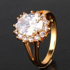 Cubic Zirconia Oval Yellow Gold Filled Costume Rings