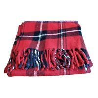 VTG Faribo Fairbault Woolen Mills Blanket Fringed Throw Plaid Red Black Buffalo