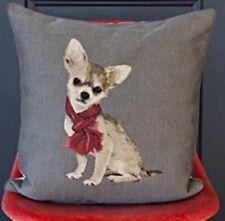 """New Iosis Yves Delorme Chihuahua Dog Gray Tapestry 18"""" Decorative Pillow Cover"""