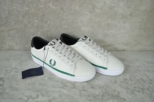 2020 Fred Perry B7110 - A19 Authentic Shoes Leather Off White Green US 5 EU 37