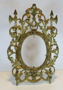 "Antique Gold Gilt Cast Iron ""COAT of ARMS"" Portrait Dresser Frame from Estate"