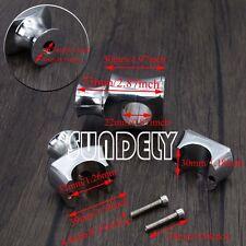 "Chrome 7/8"" Motocycle Handlebar Risers Bar Clamp Mount 22mm For Harley Honda"