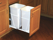 27 Quart Pull Out Trash Can Rev-A-Shelf Double Plastic Full Extension Slides New