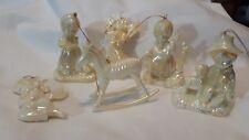 IRIDESCENT Christmas tree ornaments Angels Boy Sheep Harp horse girl ducks