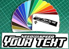 Need For Speed NFS Personalised Custom Text Sticker Vinyl Decal Adhesive BLACK