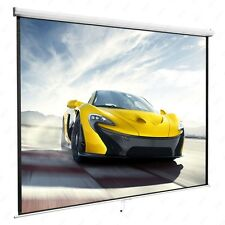 100'' Projection Screen16:9 Manual Pull Down Projector Home Movie,Matte White
