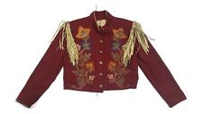 Double D Ranch Suede Fringe Wool Floral Embroidered Red Western Jacket M Womens