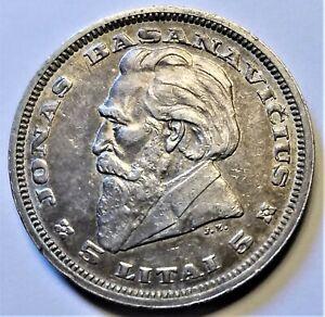 1936 Lithuania 5 Litai Toned XF Silver World Coin - Jonas Basanavicius