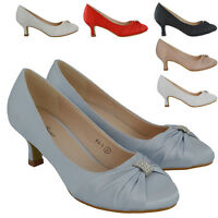 Womens Low Heel Bridal Shoes Ladies Satin Courts Slip On Pumps Size 3-8