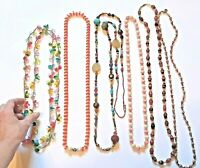Colorful plastic vintage necklaces. silk covered, painted, beaded + more