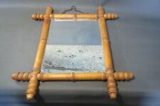 Ancien miroir cadre en bois imitation bambou de bistrot vintage déco kitsch