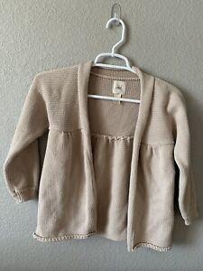 Peek Girls Cardigan Size XXL 12 Tan Open Front Knit Long Sleeve Sweater