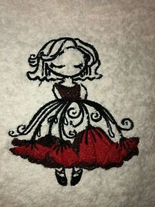 Embroidered  Ivory Bathroom Hand Towel Ballerina with Red Poppy - Flower Dress