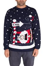 (large to The Pub Navy) - Noroze Mens Womens Unisex Jumper Xmas Pullover