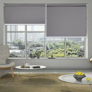 Grey Window Blackout Roller Blinds Waterproof Drill System Full Shade Curtain