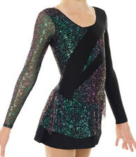 Ice Figure Skating Mondor Black Multi Color Competition Skate Dress CS 10-12