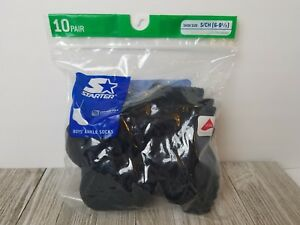 Package 10 Pairs Starter Boys Small Shoe Size 6-9.5 Ankle Socks Black New