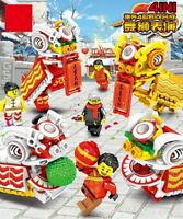 Chinese New Year Lion Dance 4 in 1 Minifigures Build Set 400pcs - USA SELLER