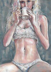 original drawing A4 158UV art samovar Mixed Media female nude Signed 2021