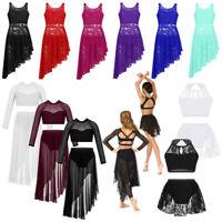 Girl Kid Lace Lyrical Ballet Dance Dress Leotard Crop Top+Skirt Nodern Dancewear