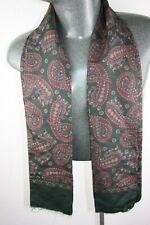 Vintage Silk Wool blend Scarf green mod dandy retro mens womens cravat *530