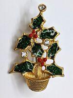 Avon Vintage Christmas Tree Gold tone Enamel & Rhinestones Holiday Brooch-Pin