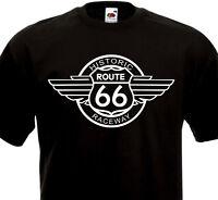 T-Shirt ROUTE 66 Historic Raceway USA Biker Custom Motorcycle Harley Davidson