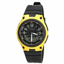 Casio AW80-9B Mens Black Yellow 30-Page Data Bank Analog Digital Watch 50M NEW