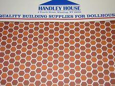 Dollhouse Building Supplies Hexagon Tile Dark Terra Cotta Flooring FF60693