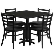 """Restaurant Table Chairs 36"""" Black Laminate with 4 Ladder Back Meta Vinyl Seat"""