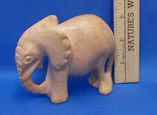 """Hand Carved Marble Elephant Figurine 3 1/4"""" Tall Statue Art Pink"""