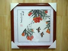 Mounted Framed Hand Paint flower Oriental Chinese Art Ink Brush Painting Signed