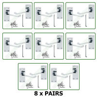 Door Handles x 7 Pairs of Victorian Lever Latch Scroll SET Chrome Finish