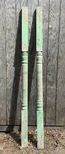"Antique Pillars Pedistal Columns Set of 2 96"" Tall Green Chippy Paint Turned"