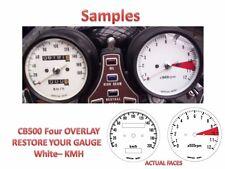 Honda CB500 Overlay Cafe Racer Gauge Face Decal Applique KMH WHITE Dial Clock 73