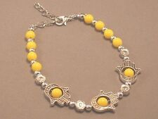HAMSA Protection Bracelet Bead Silver Accent GOOD LUCK! YELLOW Low Stock!