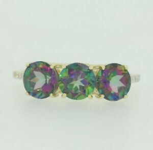 9ct Gold Ring - 9ct Yellow Gold Mystique Topaz & Diamond Ring Size N 1/2