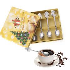 4Pcs Stainless Steel Tea Scoops Kids Spoon Tableware Christmas Coffee Spoons