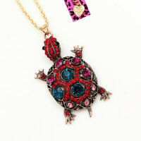 Betsey Johnson Crystal Turtle Tortoise Pendant Sweater Chain Women's Necklace