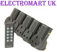 5 WAY WIRELESS REMOTE CONTROL MAINS 13A PLUG IN SOCKETS SOCKET SET PLUGS