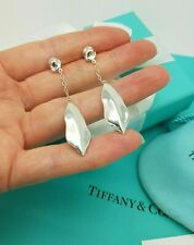Tiffany & Co. Very  RARE Silver Nature Leaf Dangle Dangling drop Earrings Studs