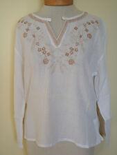 New_Boho Peasant Shirt_White Tunic Cotton Top_Kurta_Bisque Embroidery_Free Size